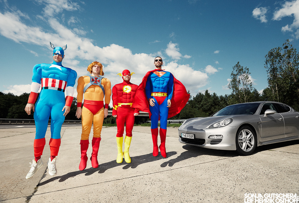 "Porsche Panamera 4 Superheroes, ""Captain America"", ""He-Man"", ""Flash"" + ""Superman"""